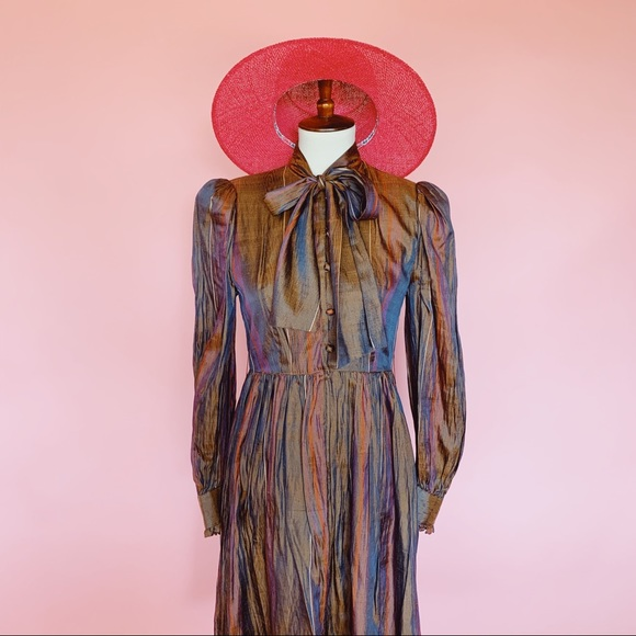 Vintage Dresses & Skirts - Vtg 70s Silk Iridescent Striped Babydoll Dress S M